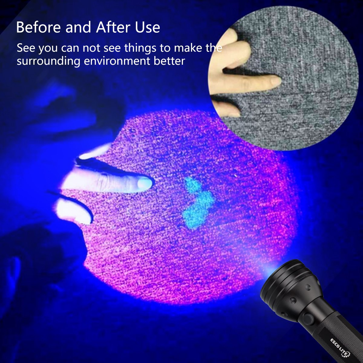 Escolite UV Flashlight Black Light, 51 LED 395 nM Ultraviolet Blacklight Detector for Dog Urine, Pet Stains and Bed Bug by ESCO LITE (Image #7)