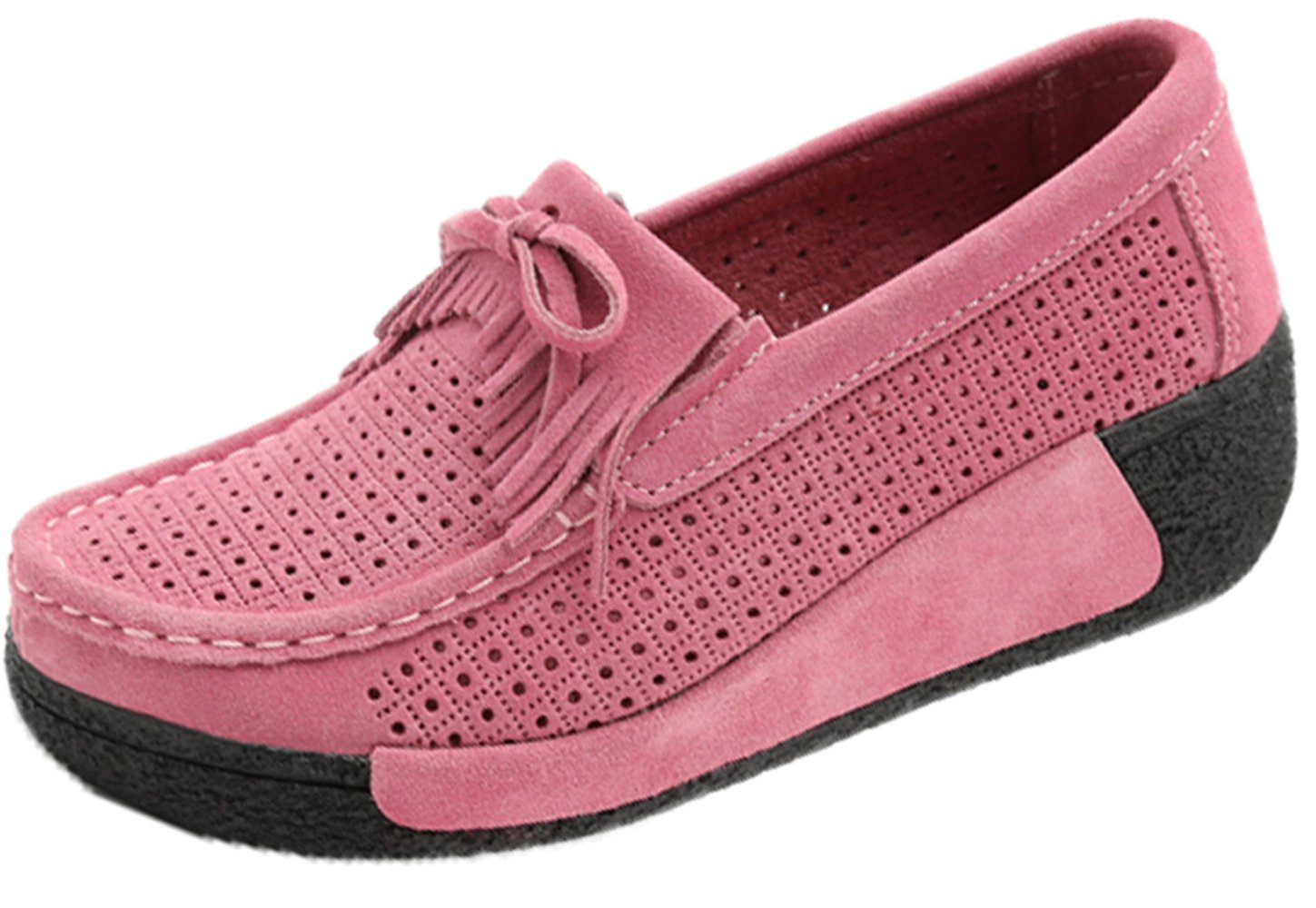YZHYXS Women Platform Shoes Slip On Sneakers Comfort Flats Wedge Casual Shoes (1319-1pink 40)