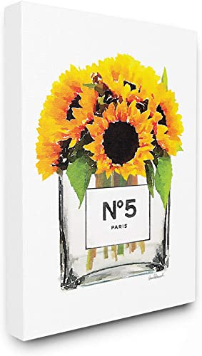 The Stupell Home D cor Collection Perfume Bottle Vase with Yellow Sunflowers Stretched Canvas Wall Art, Multi-Color