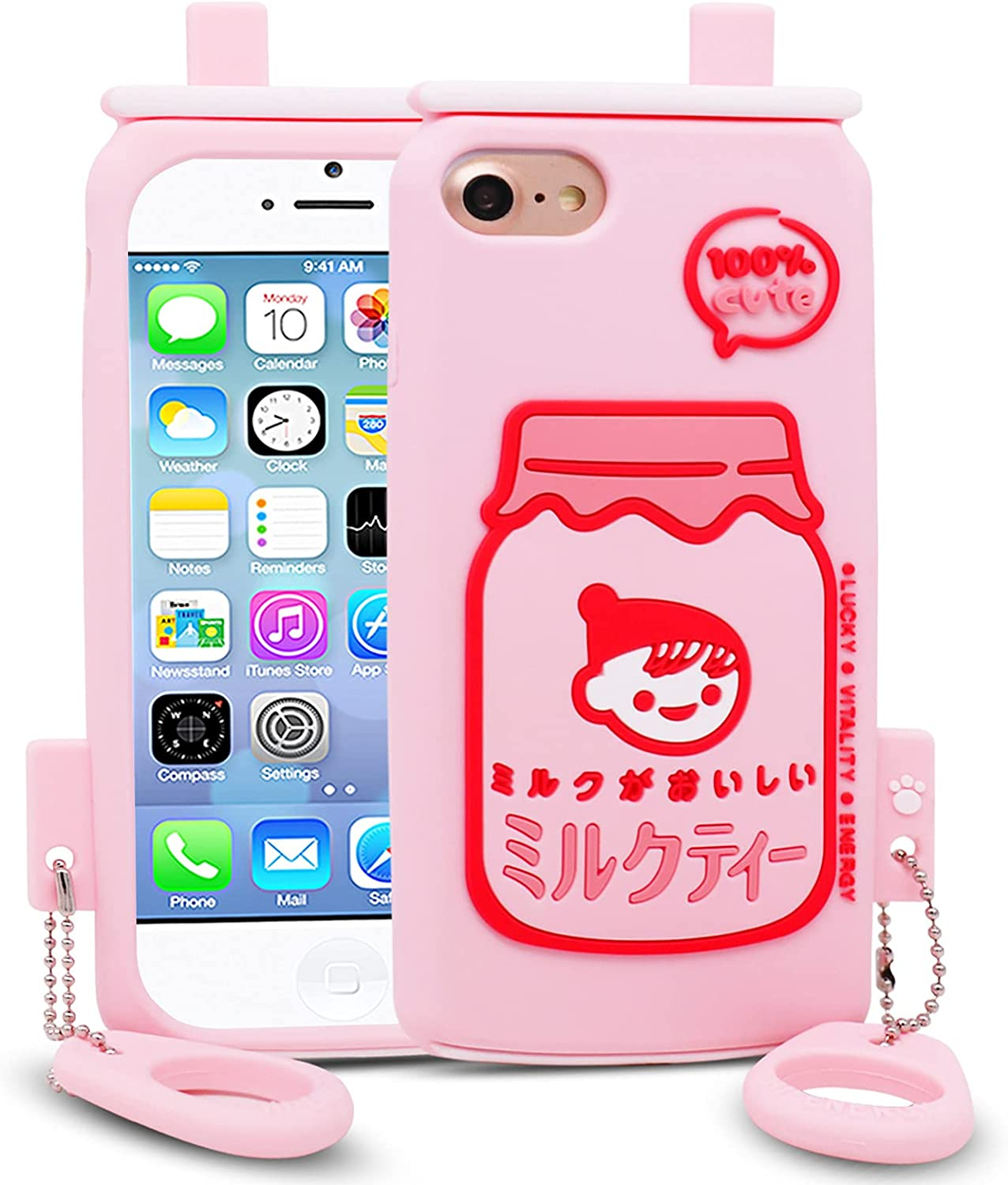 for iPhone 7 / iPhone 8 / iPhone SE 2 / iPhone SE 2020 Case, BEFOSSON 3D Cartoon Funny Soft Silicone Milk Tea Cup Phone Cover Case for iPhone 7/8 / SE2 / SE2020 with Phone Case Ring for Girls Teens