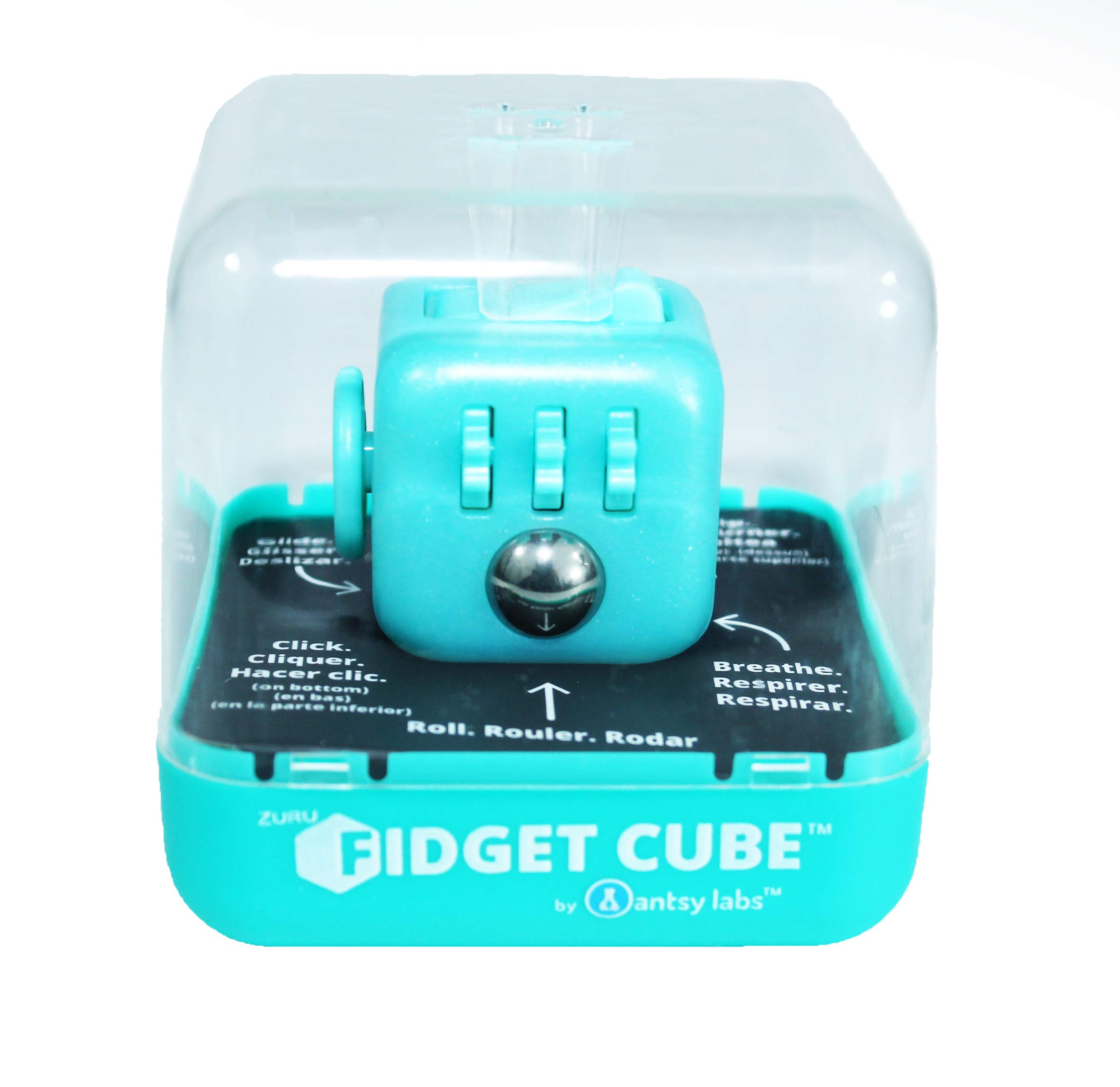 Zuru Fidget Cube by Antsy Labs - Custom Series (Glitter Tiffany Blue) Teal Glitter Fidget Cube with Teal Blue Accents by Zuru Fidget Cube by Antsy Labs (Image #1)