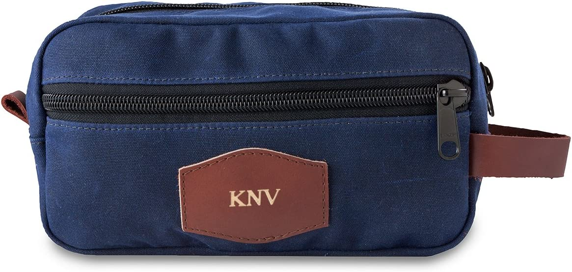 Gold Mens waxed canvas personalized Travel Bag Blue