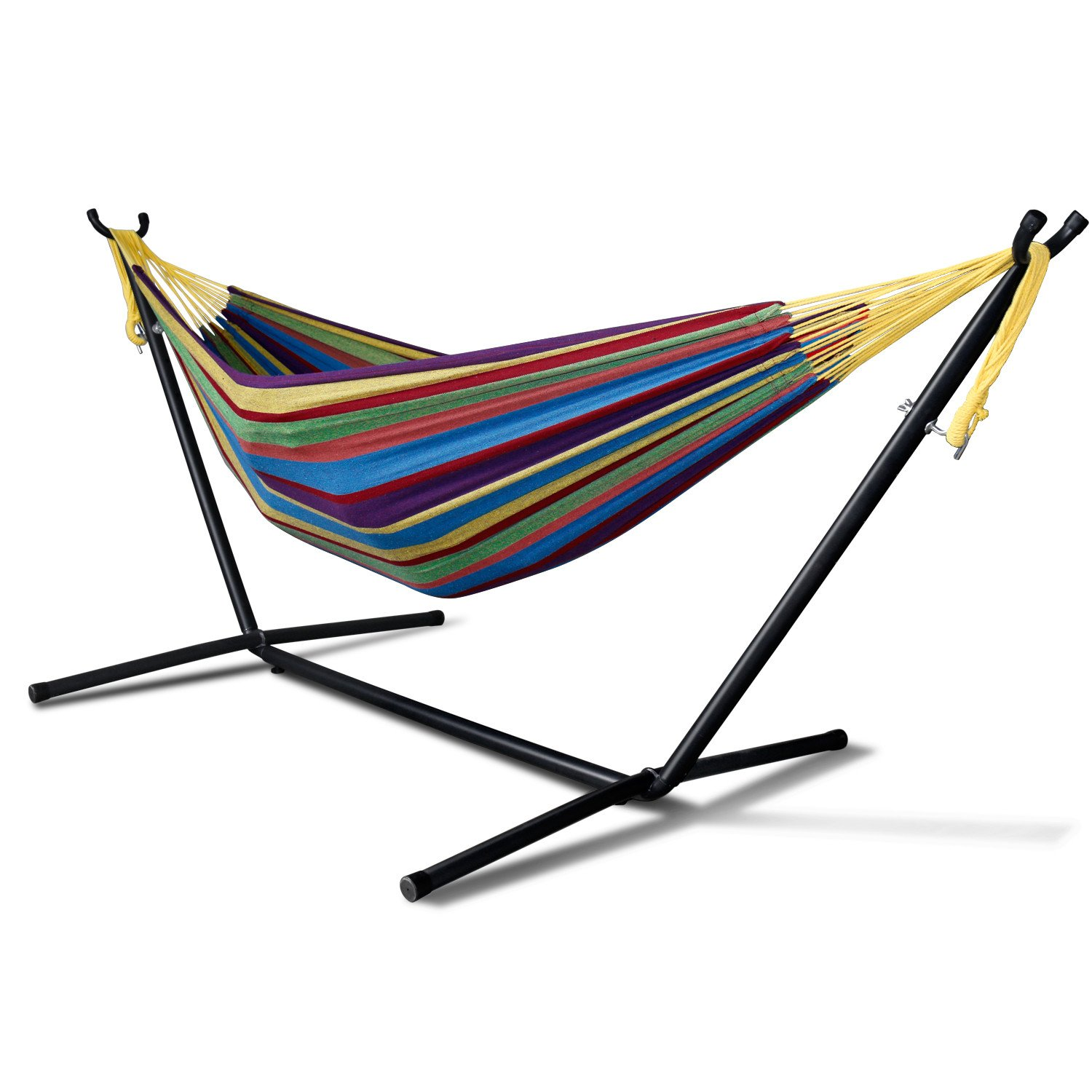 Double Hammock, Paymenow Patio and Lawn Portable Double Hammocks With Space Saving Steel Stand Up to 450lbs Includes Portable Carrying Case (Tropical)