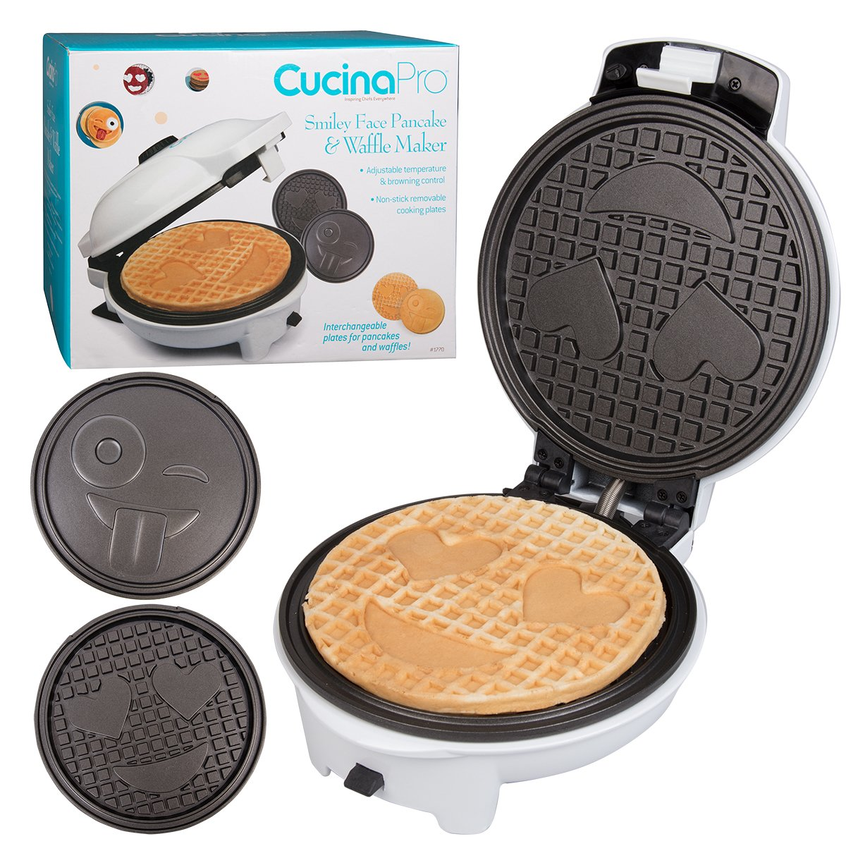 Emoji Waffler & Pancake Maker w Interchangeable Plates - Choose either 8'' Diameter Smiley Face Waffles OR Pan Cakes - Non-stick Electric Griddle Iron