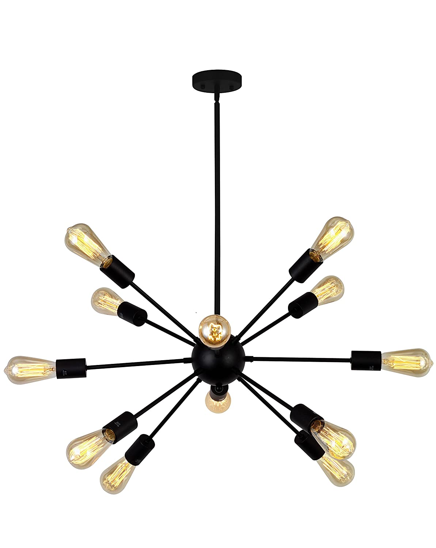 VINLUZ 12-Light Contemporary Sputnik Chandelier Black Mid Century Modern Ceiling Light Fixtures Hanging Rustic Industrial Pendant Lighting for Kitchen Dining Room Living Room