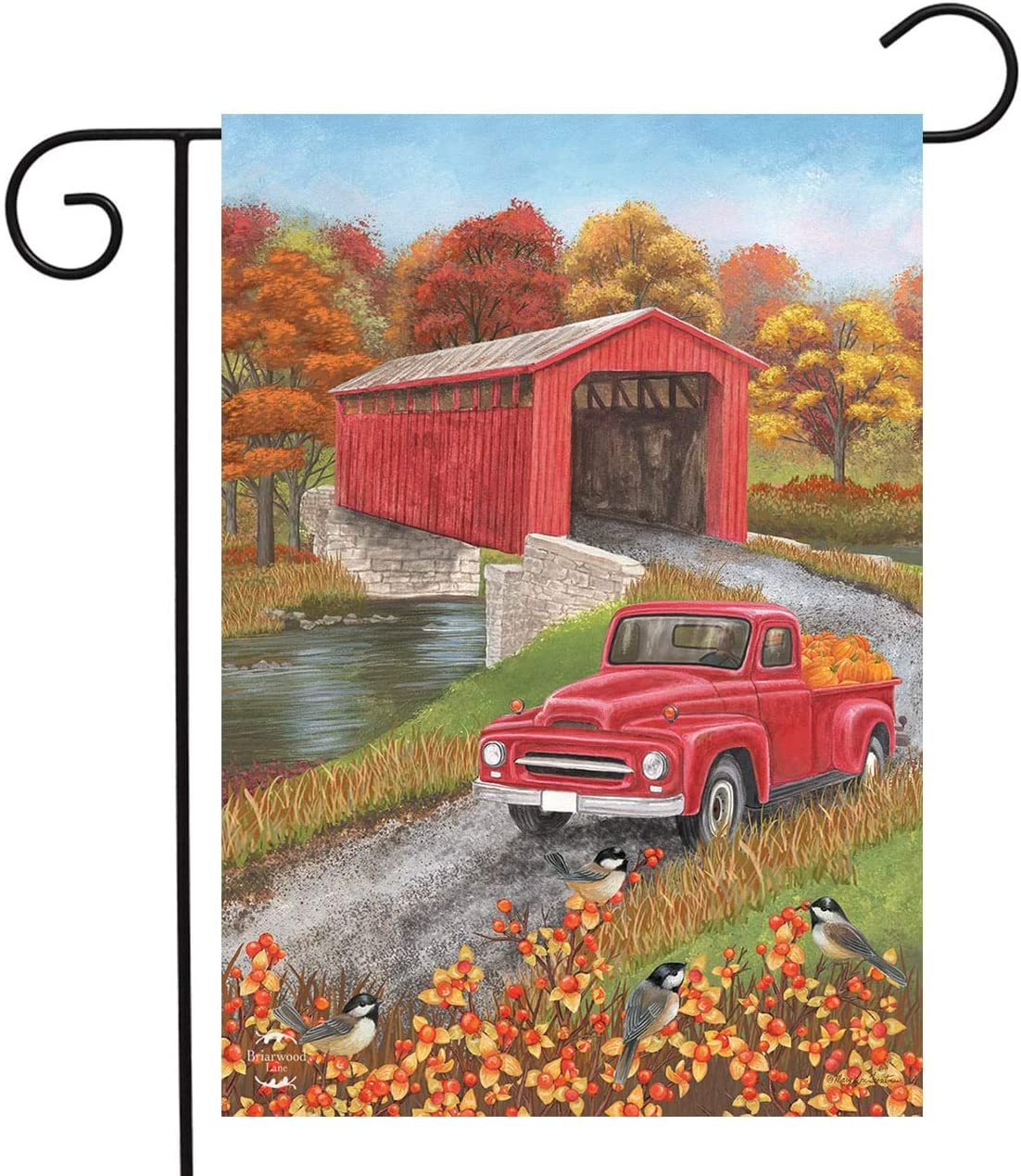 Autumn Bridge Garden Flag Fall Pickup Truck Covered Bridge 12.5