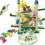 【木のおもちゃスロープ3段オムツケーキ『森の贈り物』】赤ちゃんに安心な木製玩具付きおむつケーキ L