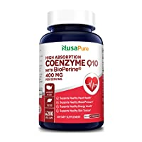 CoQ10 400 mg 200 Veggie Caps (Non-GMO & Gluten-Free) Coenzyme Q10 Supplement, Antioxidant COQ-10 Enzyme, Coq 10 for Support of Healthy Blood Pressure & Healthy Heart* - Serving Size 2 Daily Caps