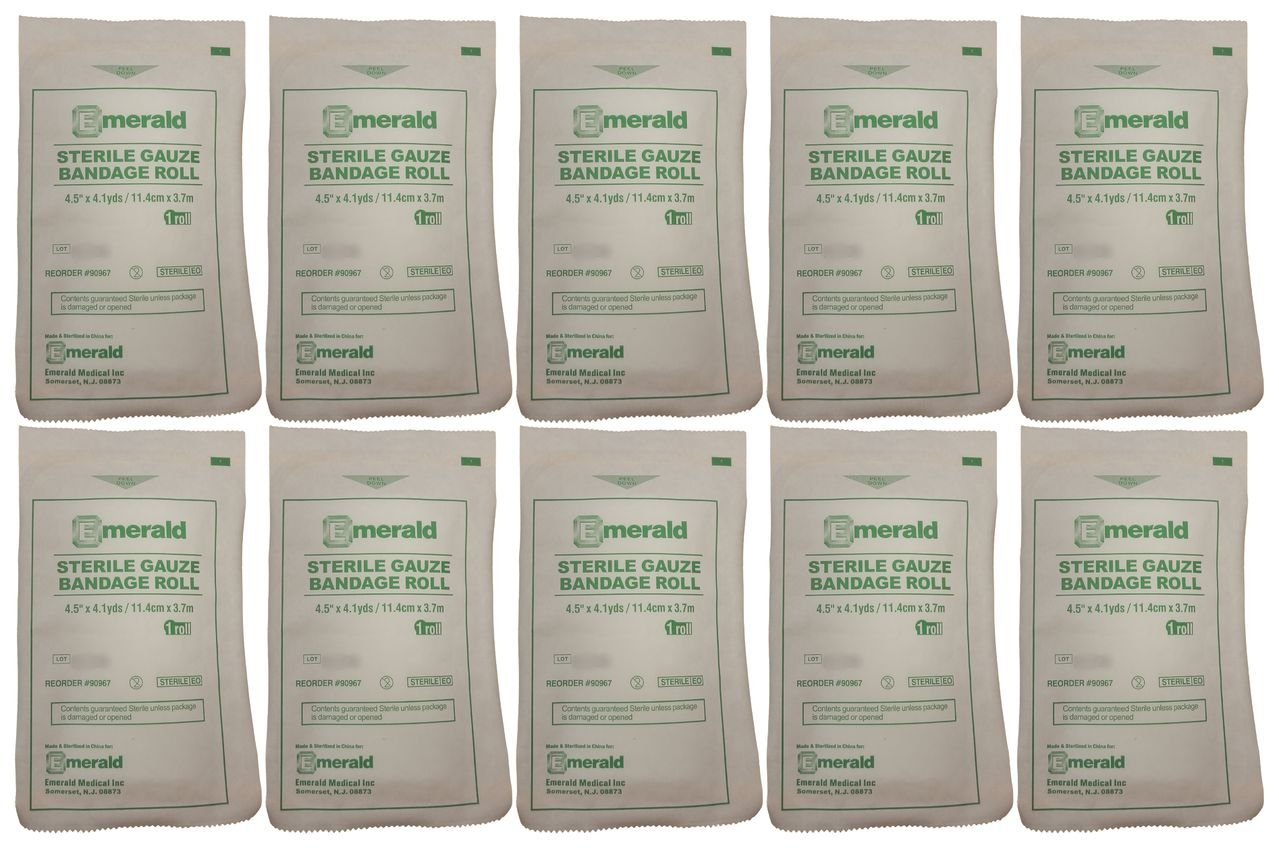 Emerald Sterile Krinkle Kerlix Type 4 1/2'' x 4 1/8 Yds, Bandage Roll - Pack of 10