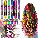 6 Sticks Hair Chalk Pens, Metallic Glitter Temporary Hair Dye Pastel, Edge Chalks, Non-Toxic, Color No Mess for All Hair