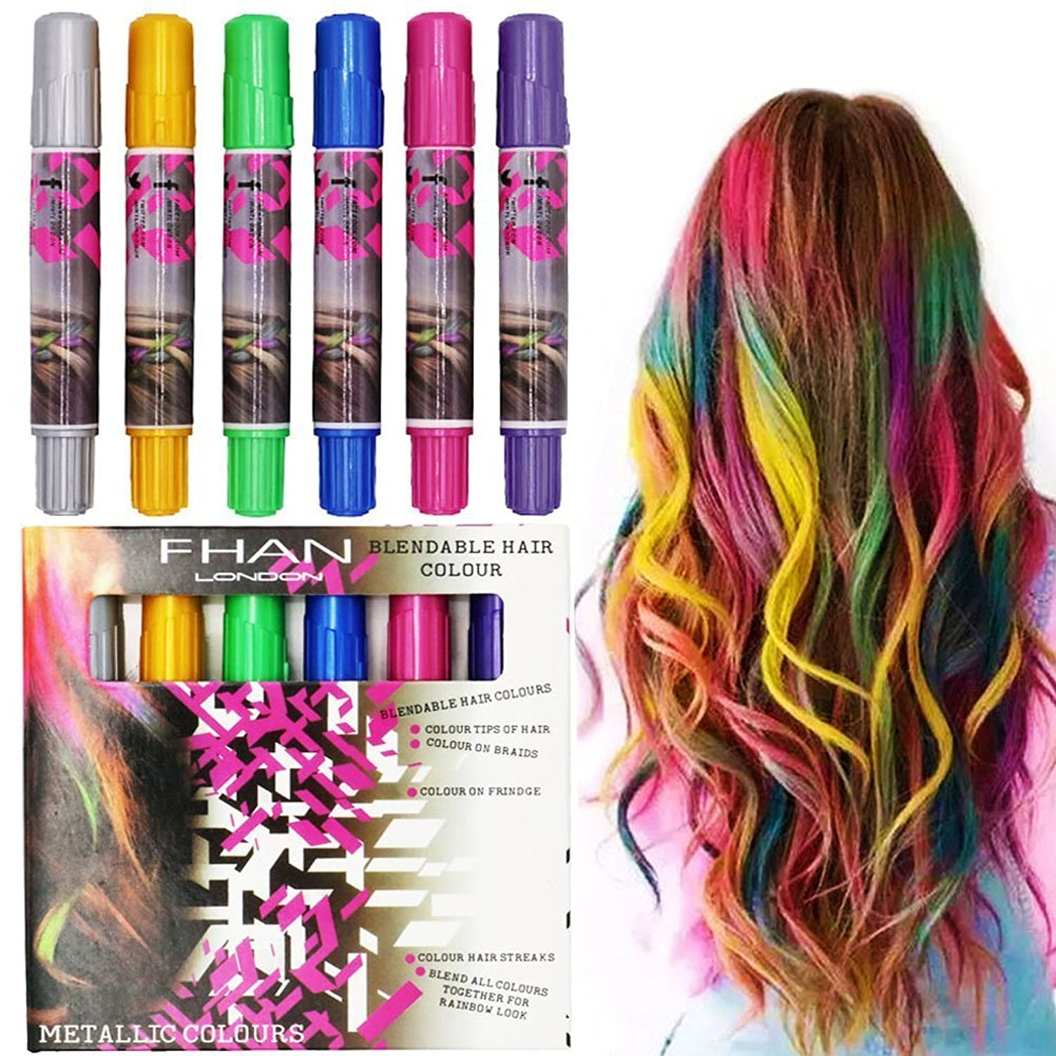 Amazon.com: Glitter Vibrant Temporary Hair Color Pen Crayon Chalk ...