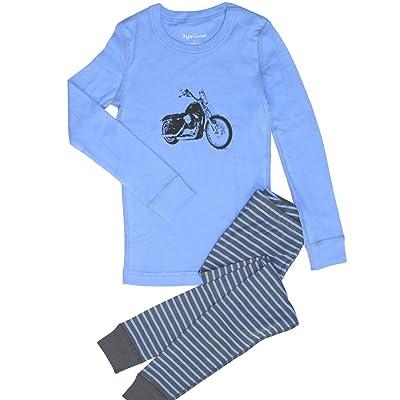 Skylar Luna Little Boys' Motorcycle Organic Long Pajamas