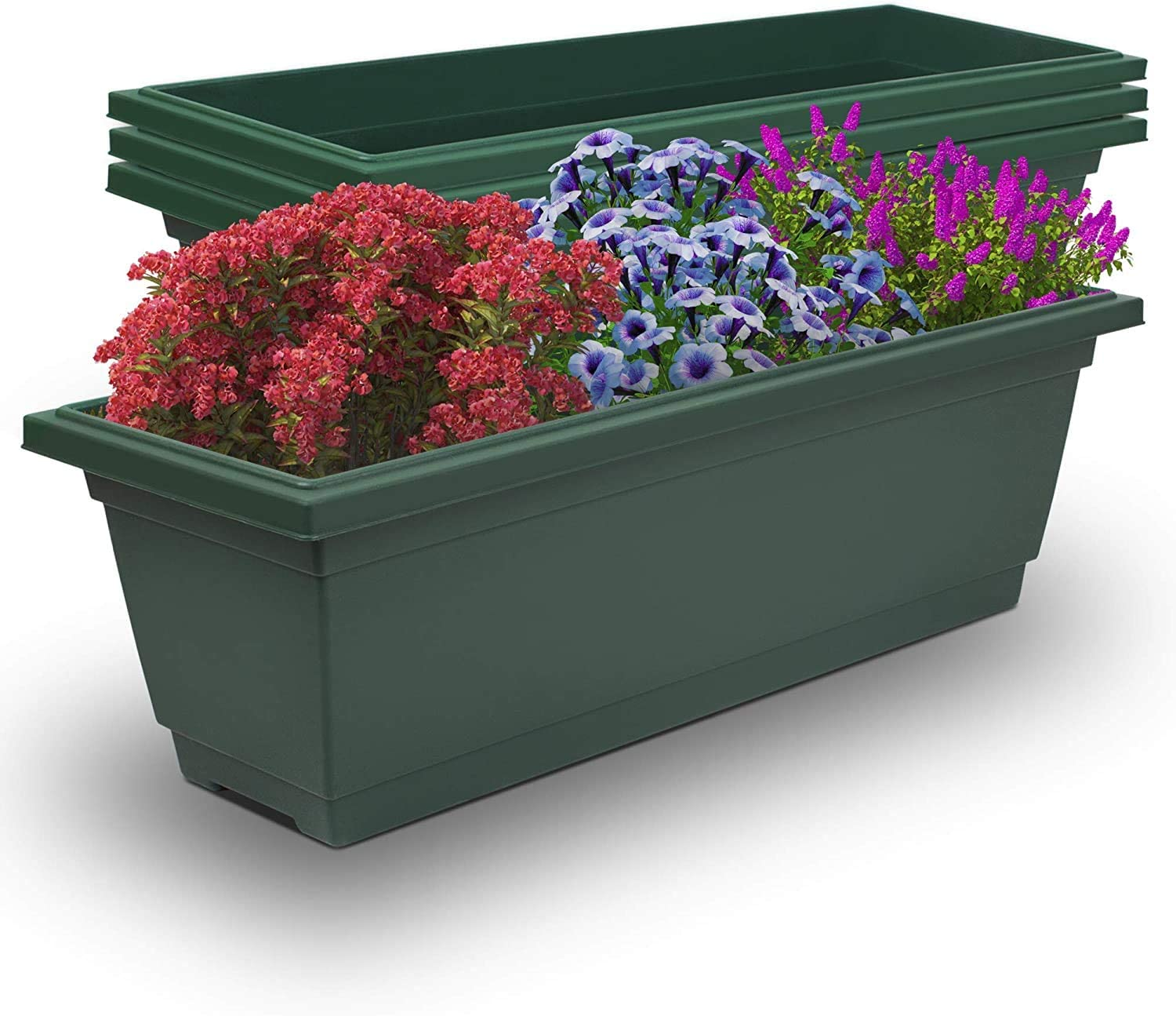 Outland Living 4 Packs 26.5 inches Outdoor and Indoor Rectangle Plastic Planter Box Perfect for Herbs Succulents Vegetables and Flower Gardening (Large 4-Pack, Forest Green)