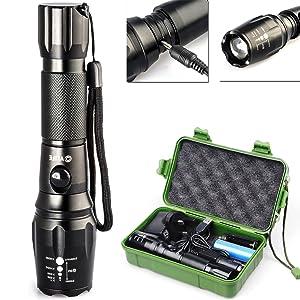 CVLIFE 800 Lumens CREE XM-L T6 Rechargeable Flashlight