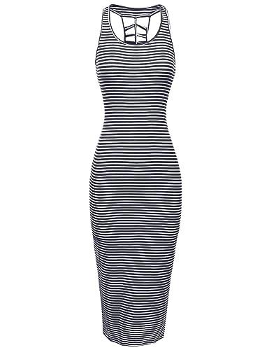 Sleeveless Caged Back Ribbed Casual Maxi Dress Navy White Size S