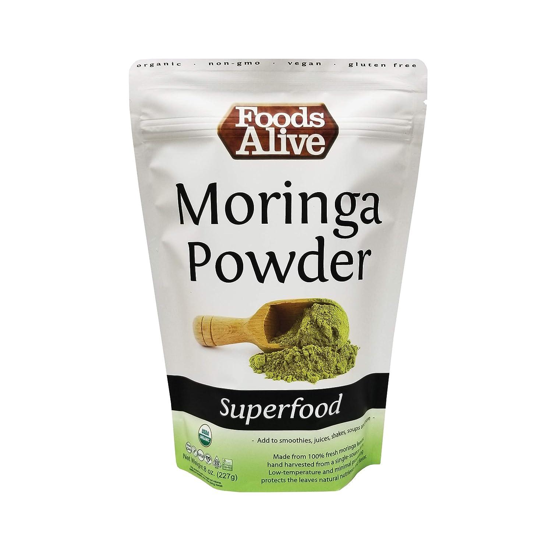 Foods Alive Organic Moringa Powder - (Moringa Oleifera) | From India | Plant Protein, Perfect for Smoothies, Drinks, Tea & Recipes, 8oz Resealable bag
