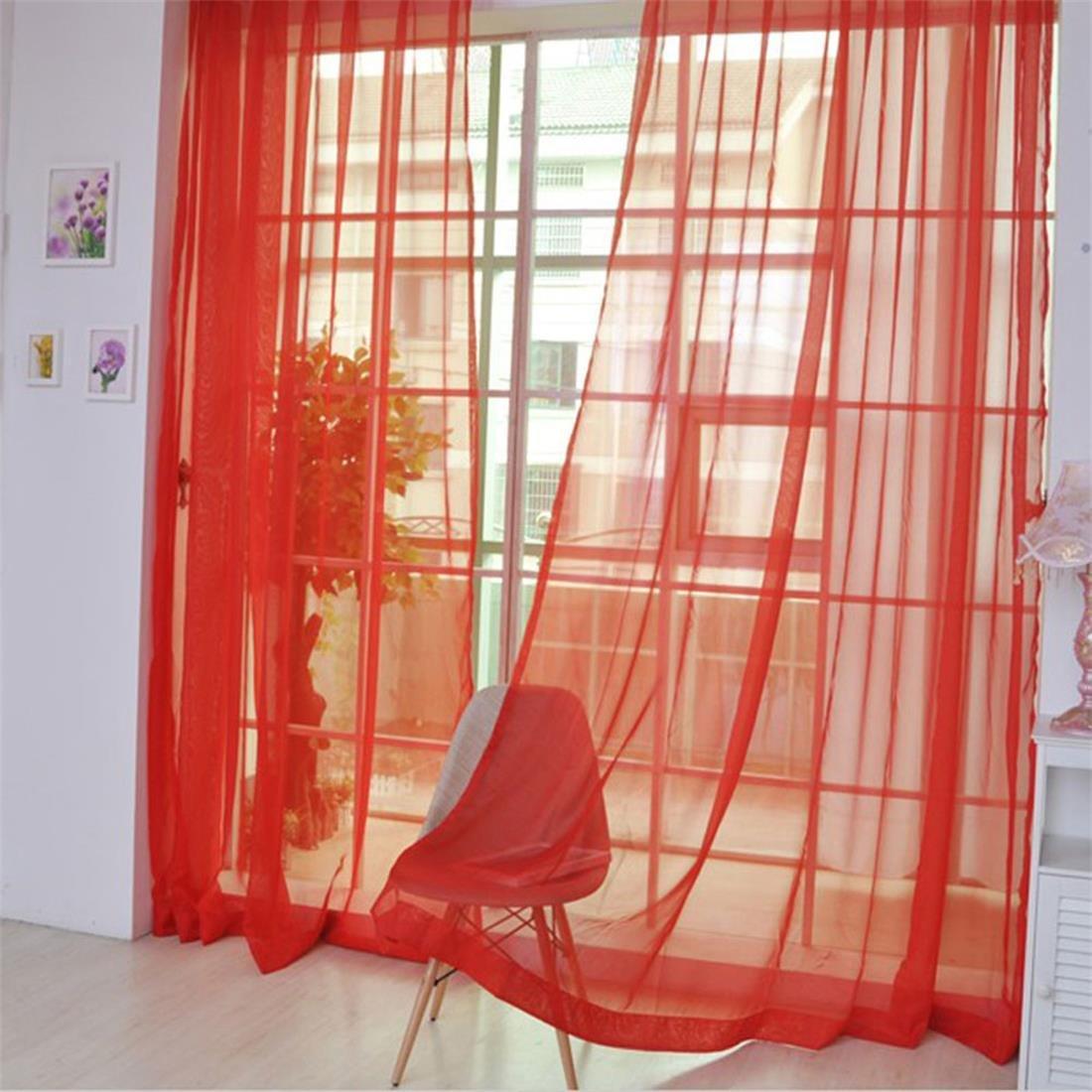 AFUT -Cortina de tul para puerta o ventana, 100 x 200 cm, color liso a la moda, café , 100x200cm 100x 200cm café