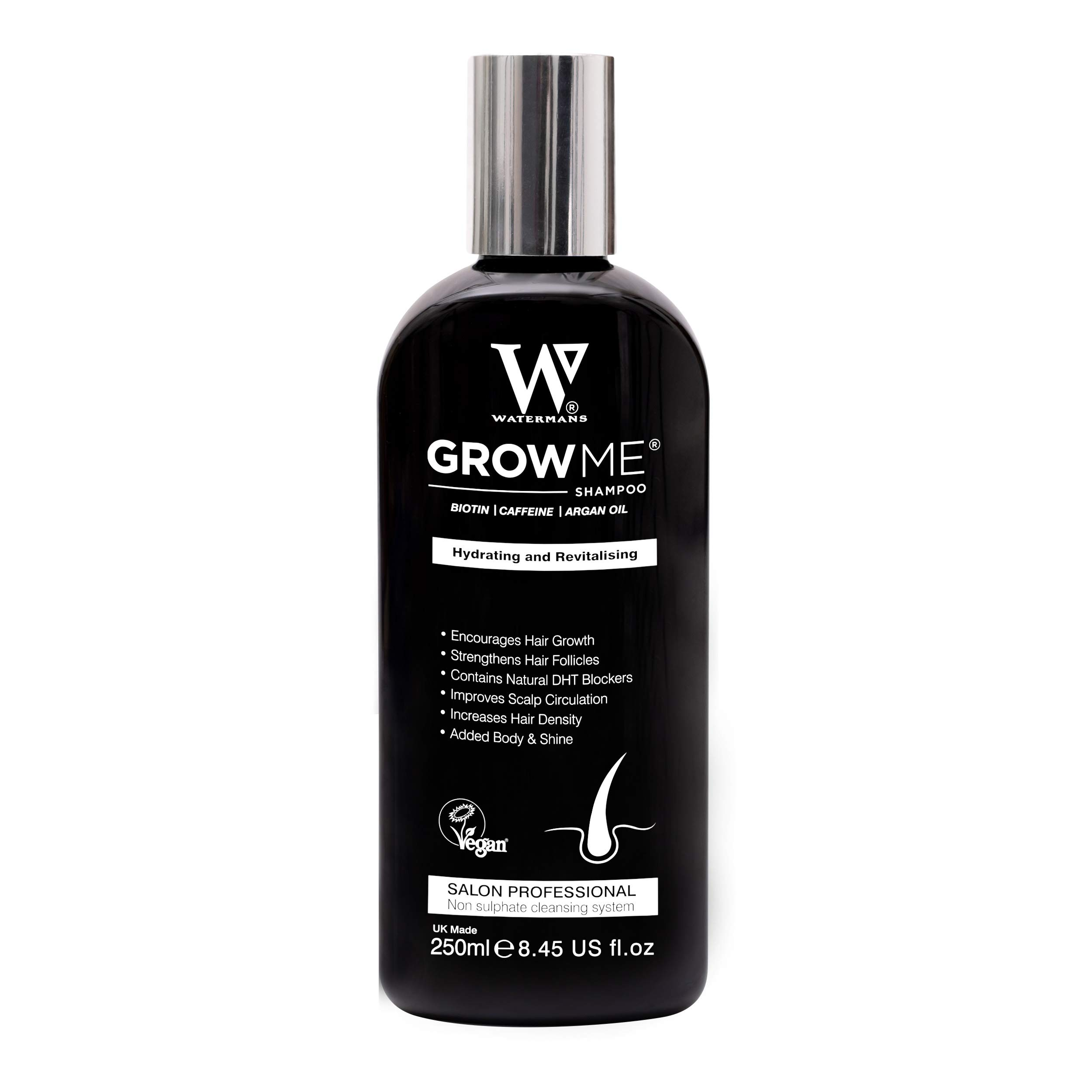 Watermans Grow Me Hair Growth Shampoo, UK Made - Sulphate Free, Vegan, Caffeine, Biotin, Argan Oil, Allantoin, Rosemary. Helps with hair growth, hair loss problems, Increase the look of hair density for Women and Men all races.