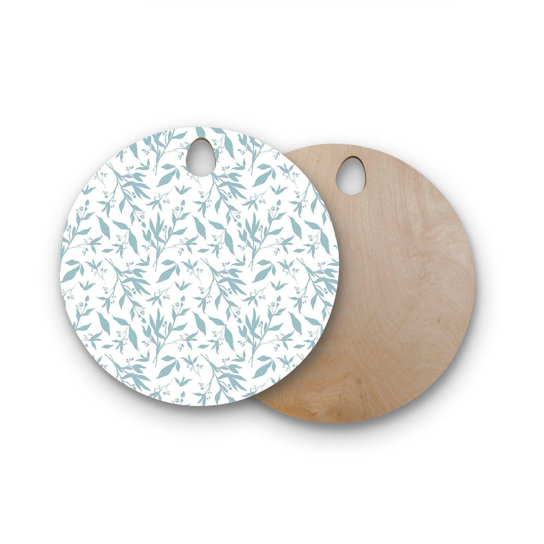 Kess InHouse ZM2036AWB02 Zara Martina MansenLeafy Silhouettes Wooden Cutting Board White Blue