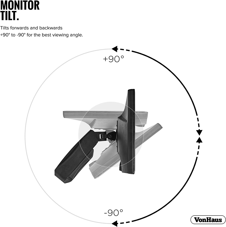 Support de moniteur de gaz Moniteur VonHaus pour /écrans LCD LED 13-27 Max VESA 100x100 Rotation de 360/° inclinaison de /±90/° et bras pivotant de /±90/°