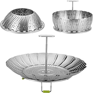 Vegetable Steamer Basket - Adjustable Stainless Steel Steamer Basket for Cooking, Expandable to Fit Various Size Pot (5.5