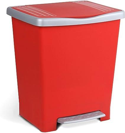 Oferta amazon: Tatay Millenium Cubo de Basura con Apertura Automática a Pedal o Manual, Capacidad 25 L, Fabricado en Plástico Polipropileno. Medidas 33,5 x 30 x 39 cm (L x An x Al). Color Rojo.