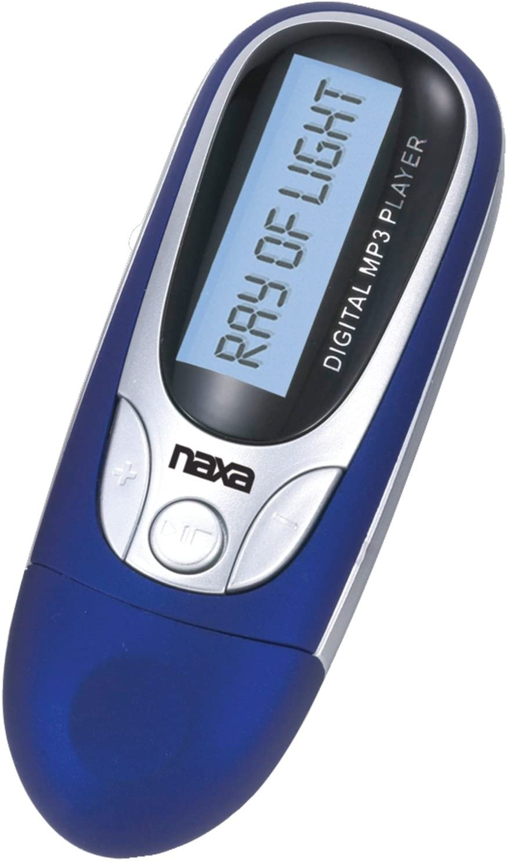 NAXA Electronics NM-105BL MP3/WMA/WAV Player with 4 GB Built-in Flash Memory, LCD Display, PLL Digital FM Radio and Built-in USB Plug Adaptor