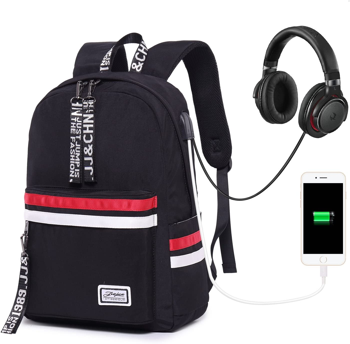 School Backpack Teen Girls Bookbag for Laptop Book Bag Travel Rucksack Daypack for Men Women Boys Girls Black with USB Port Headphone Jack