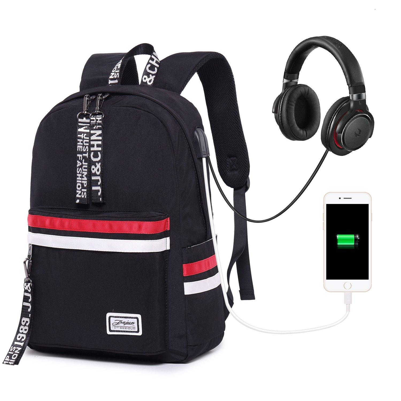 School Backpack Teen Girls Bookbag for Laptop Book Bag Travel Rucksack Daypack for Men Women Boys Girls Black with USB Port Headphone Jack
