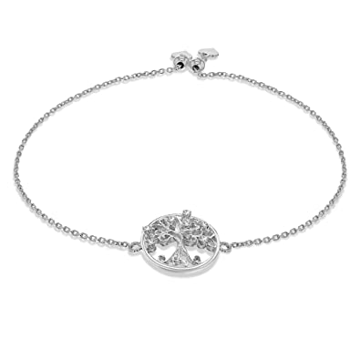 BlingGem Tree of Life Bracelet Meaningful Charm 925 Sterling Silver White gold plated Chain Bracelet-Jewellery for Women QQPDy