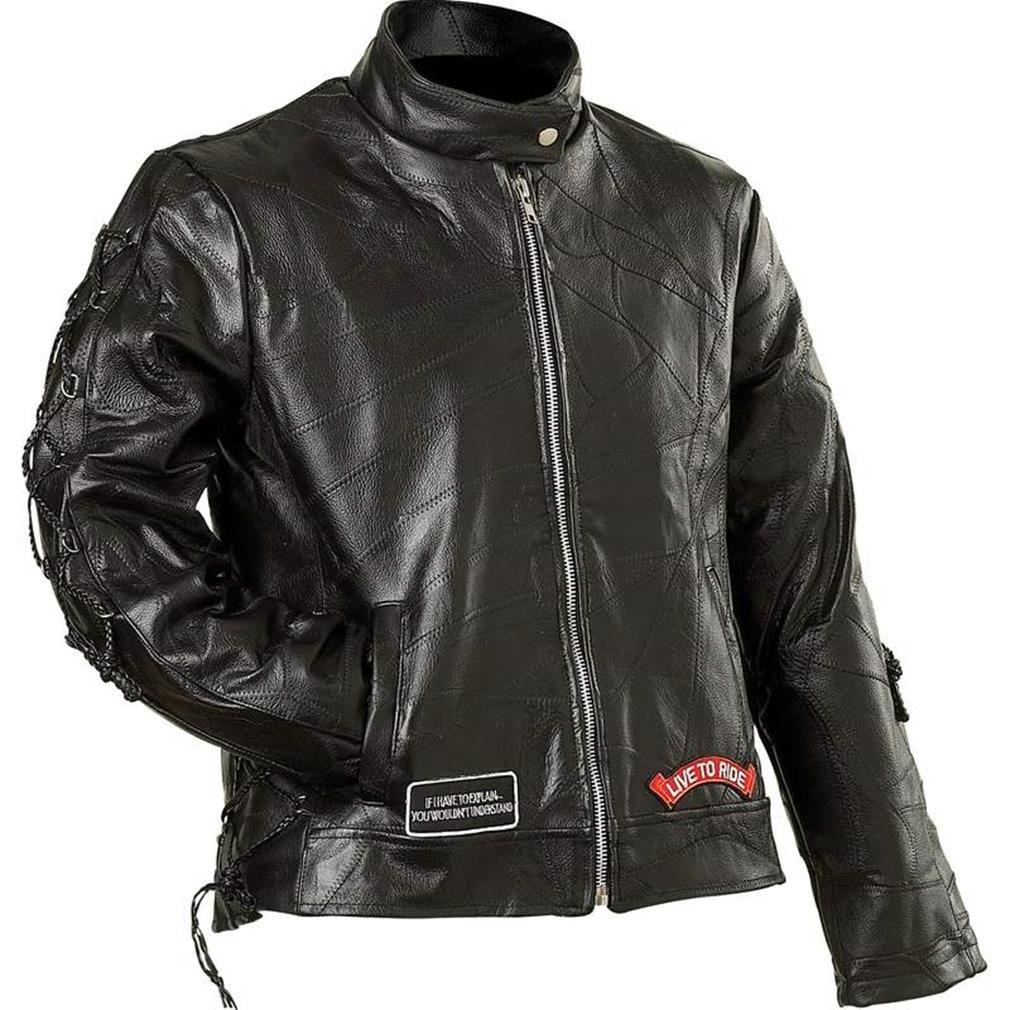 Diamond Plate Ladies Rock Design Genuine Buffalo Leather Motorcycle Jacket