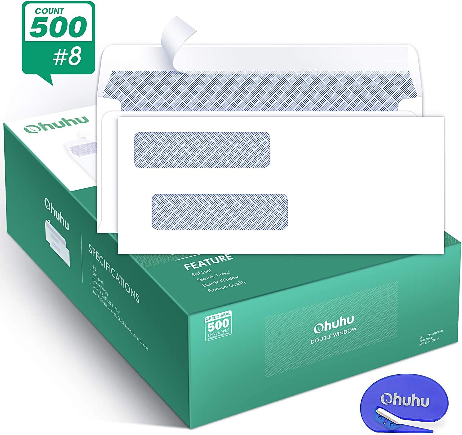 Ohuhu 500 Pack # 8 Double Window Envelope SELF SEAL Adhesive Tinted Security Envelopes Quickbooks Check, Business Check, Documents Secure Mailing, 3 5/8 x 8 11/16 Inches, A Letter Opener Included