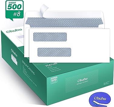 "#8-5//8/"" x 3-5//8/"" 100 QuickBooks check ENVELOPES Self-Seal Double-Window"