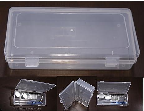VAS Clear 9u0026quot; Polypropylene Small Plastic Storage Box, Hinged Lid U0026  Snap Closure