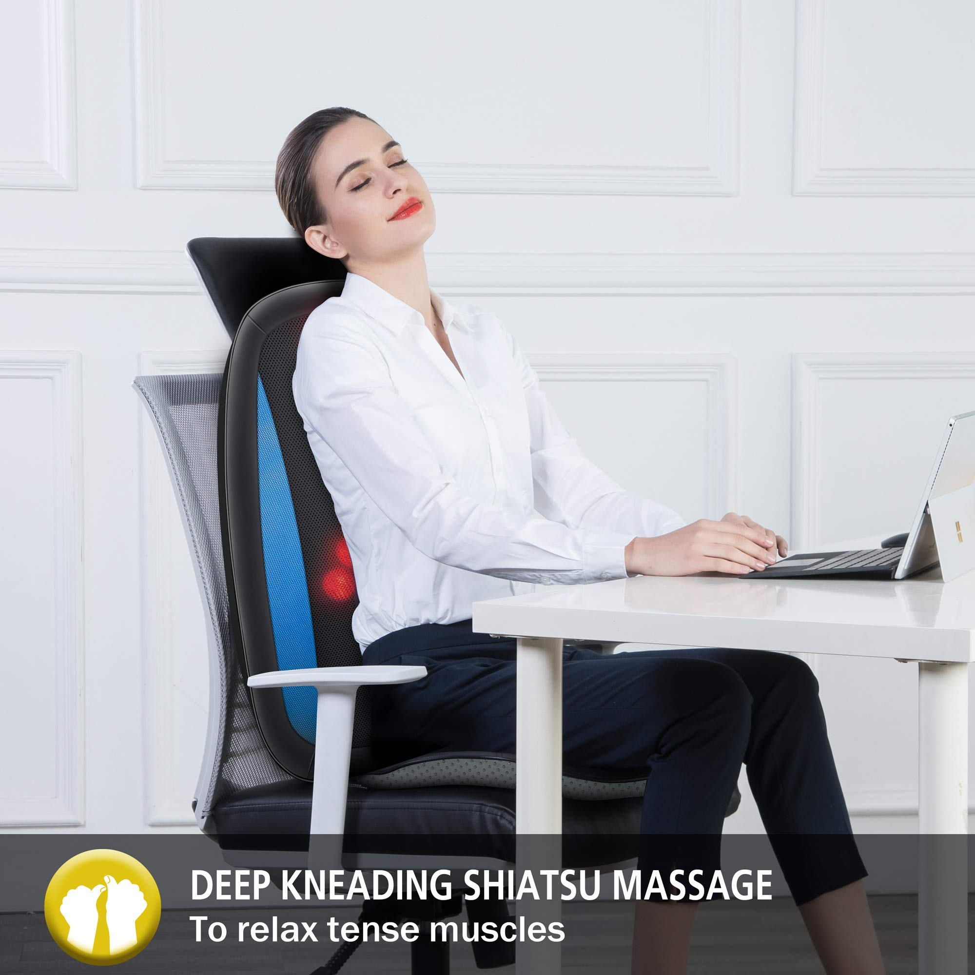 Comfier Shiatsu Back Massager with Heat -Deep Tissue Kneading Massage Seat Cushion, Massage Chair Pad for Full Back Pain Relief, Electric Body Massager for Home or Office Chair use by COMFIER (Image #2)