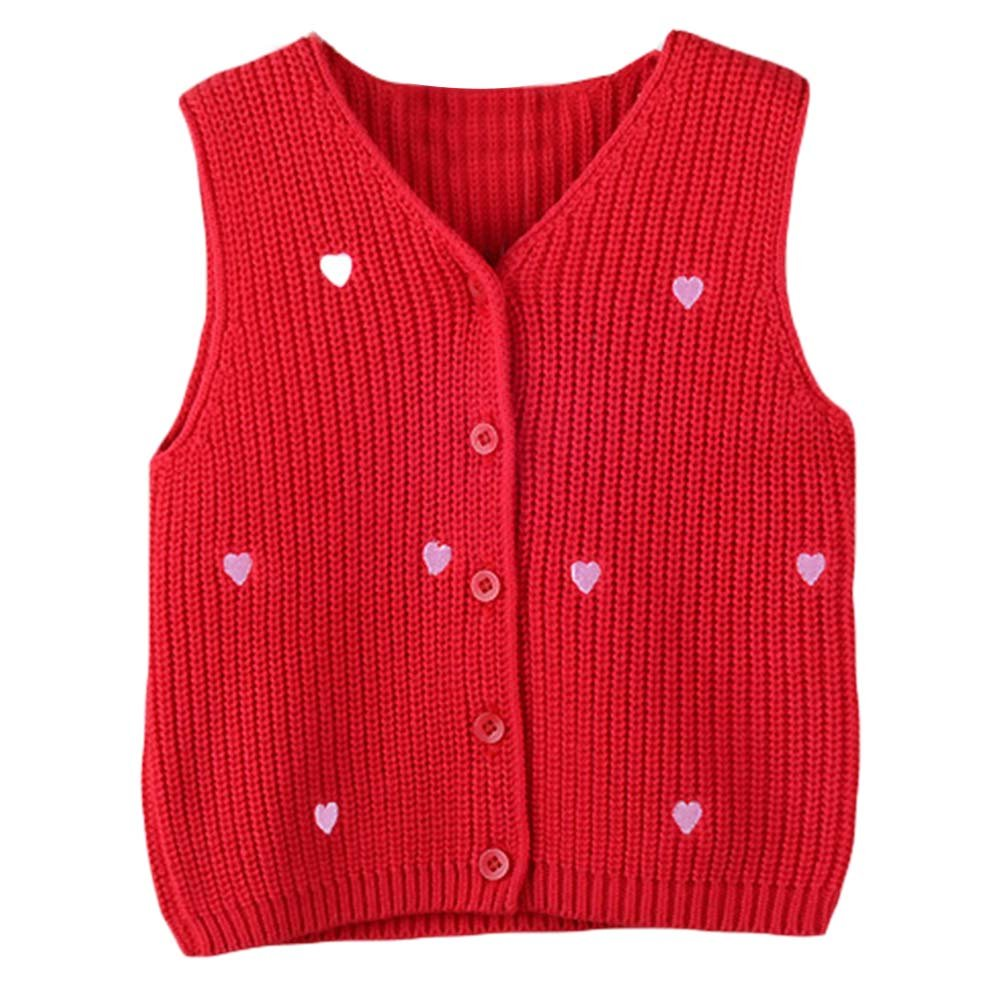 Taiycyxgan Unisex Baby Girls Boys Knit Cardigan Vest Toddlers Winter Sweater Vest Heart Print