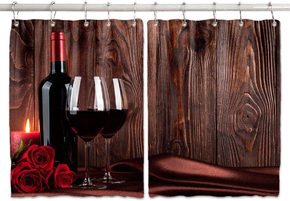 Wine Theme Decor Kitchen Curtains, Red Wine Glass and Rose on Old Rustic Wooden Board Premium Decor Window Drapes Curtains 2 Panels, Upgrade Window Treatment Sets with Hooks, 55X39Inches