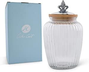 Arthur Court Canister Glass for Kitchen with Rubber Airtight Seal for Food Storage Fleur De Lis Knob Large Size 9.5 inches tall 60 oz