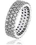 3.00CTS Certified G/VS2 Brilliant Cut Diamond Three Row Full Eternity Claw Set Ring in 18k White Gold
