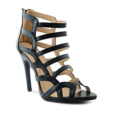 44bd0a8680da New Ladies Stiletto High Heel Ankle Strappy Cut Out Peep Toe Sandals Size  UK 3-