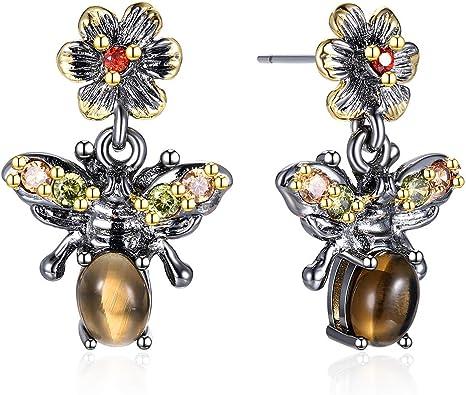 Beautiful cute animal drop earring smokytopaz stone colorful crystal bee jewelry Black gold 2 tone plate nice dangle earrings WE3798