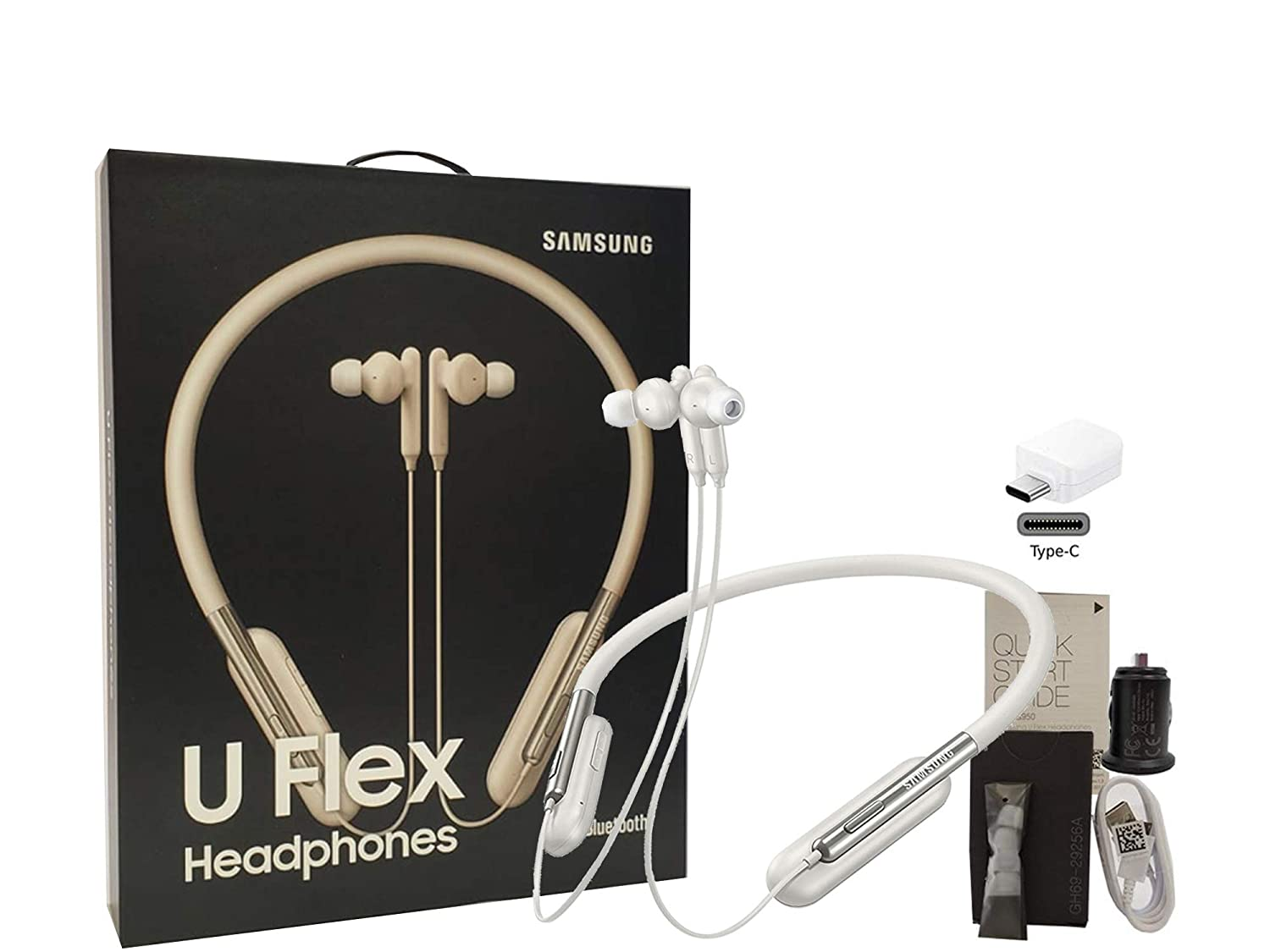 Samsung U Flex Bluetooth Wireless in-Ear Headphones HD Premium Sound and Mic – with Car-Charger 4FT USB Kit US Model – Retail Packing