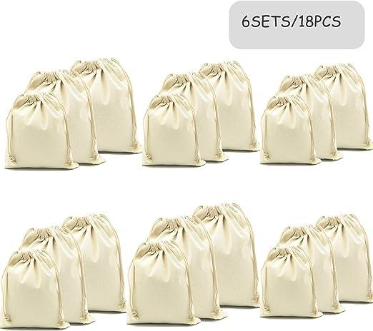 Meta-U - Bolsas de algodón orgánico, reutilizables, biodegradables, ecológicas, bolsas de viaje, bolsas de bolsillo, almacenamiento para el hogar y verduras mixed sizes White-18pcs: Amazon.es: Hogar