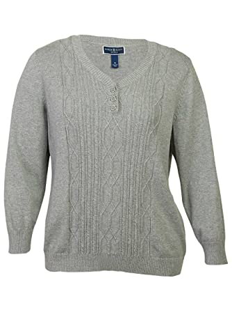 025c40ebb Karen Scott Women s Long-Sleeve Cable-Knit Henley Sweater (Smoke ...