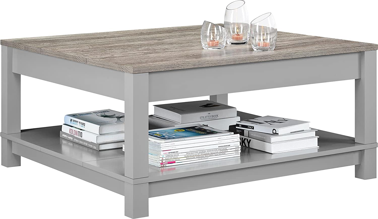 Ameriwood home carver coffee table gray watchthetrailerfo