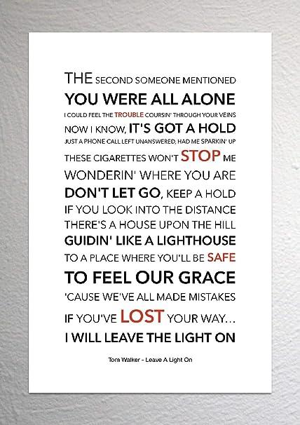 Light Of Christmas Lyrics.Tom Walker Leave A Light On Funky Lyric Art Print A4