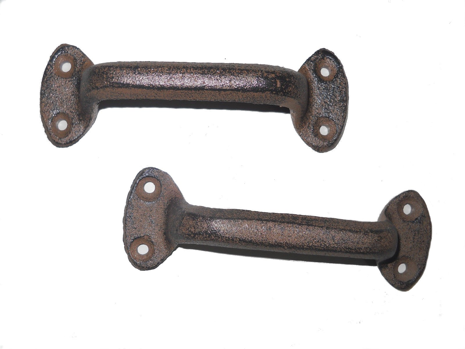 WD-2 Pcs Solid Cast Iron Antique Style Rustic Barn Handle Gate Pull, Shed - Door Handles Rust Brown Finish by WD store
