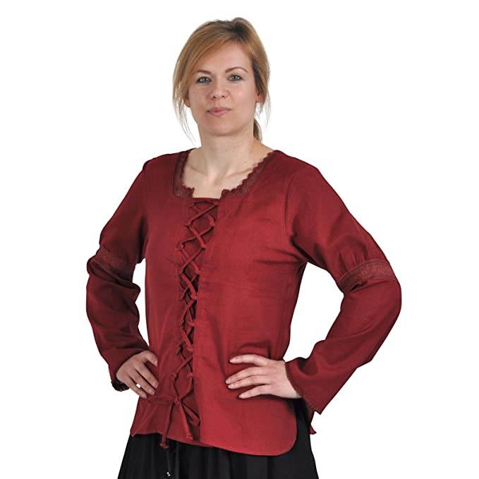 Ropa medieval – Wench Blusa Alexa, color rojo oscuro Rojo rosso XXX-Large