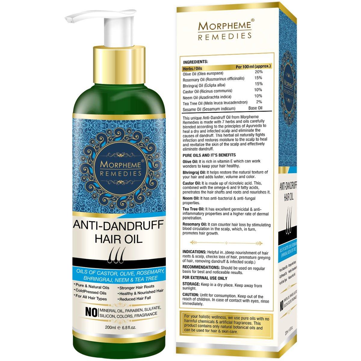 Buy Morpheme Remedies Anti Dandruff Hair Oil With Olive Bhringraj