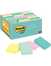 Post-it Notes, 24 Pads/Pack, 1 3/8 in. x 1 7/8 in, Marseille Colors, America's #1 Favorite Sticky Note, Call Out Important Information, Recyclable (653-24APVAD)
